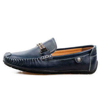 Fashion Leisure Leather Loafers (Dark Blue) - picture 2