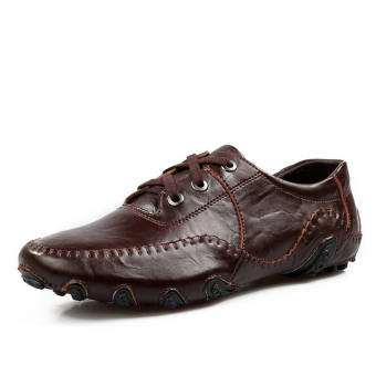 Fashion Leisure Leather Shoes (Dark Brown)