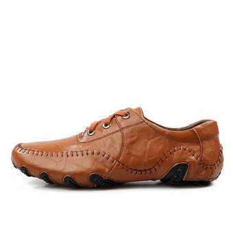 Fashion Leisure Leather Shoes (Light Brown) - picture 2