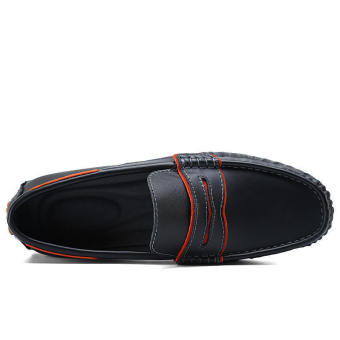 Fashion Men Casual Leather Driving Shoes- Black - picture 2