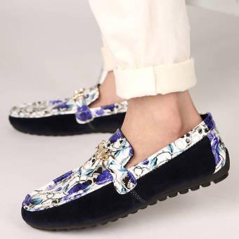 Fashion Men Flowers Flat Loafers – Blue