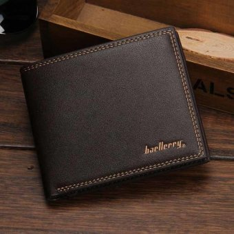 Fashion Men Wallets PU Leather Men Wallet Man Simple AndElegantPortable For Male Wallets Cases Card Holder Black Horizontal- intl
