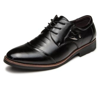 Fashion Men's Cow Leather Dress Shoes Business Pointed Shoes(Black)
