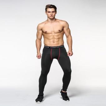 Fashion Men's Jogger Running Long Pants Sports Training Tight Compressed Exercise Leggings (Black) - intl - 2