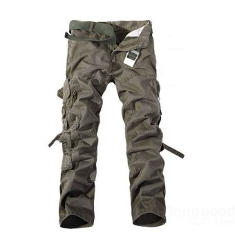 Fashion Men's Multi Pockets Casual Cotton Cargo Pants - Intl
