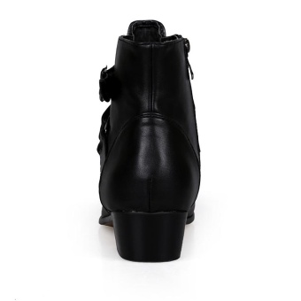 Fashion Men's Pointed Toe Leather Ankle Boots High Grade Men Martin Boot (Black) - intl - 4