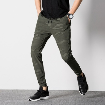 Fashion Men's Camo Army Color Casual Jogger Long Pants-ArmyGreen(CN858) - intl