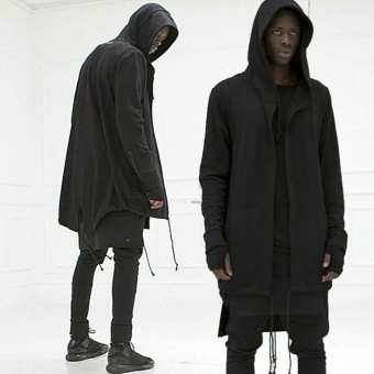 Fashion Mens Cardigan Fit Jacket Hooded Long Cloak Cape CoatCosplay Loose Casual Slim Black - intl