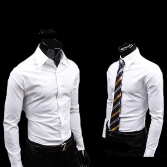Fashion Men's Long sleeve Shirt Business Anti-Wrinkle Shirts White