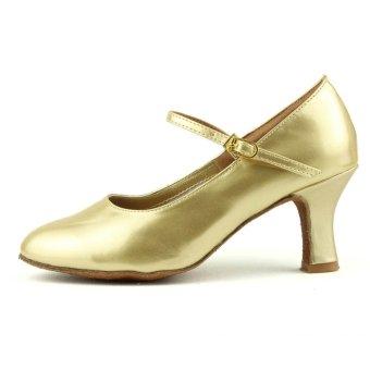 Fashion modern woman's ballroom salsa dance shoes latin shoes(Gold)(Intl) - 2