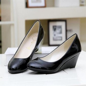Fashion New Middle Heeled Women's Ladies Wedge Party WeddingBusiness OL Shoes D136 Black - intl
