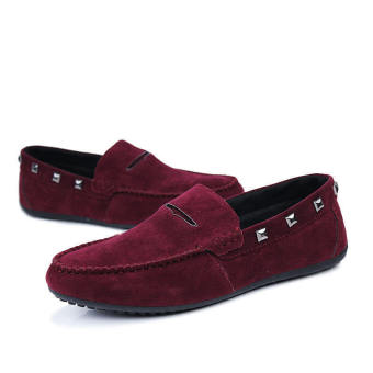 Fashion New Rivet Leather Loafers -Wine Red