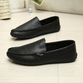 Fashion New Simple Letter Loafers -Black - picture 2
