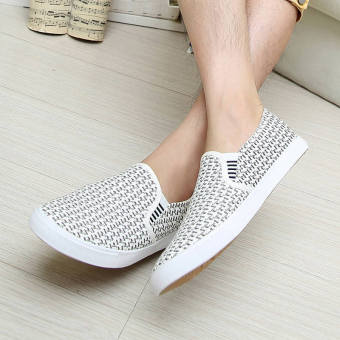 Fashion New Simple Letter Loafers -White - picture 3