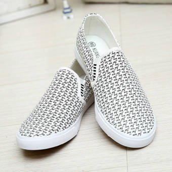 Fashion New Simple Letter Loafers -White - picture 2