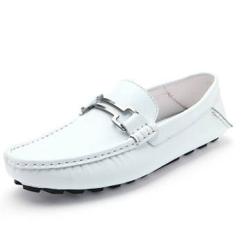 Fashion New Soft Men Leather Loafers – White