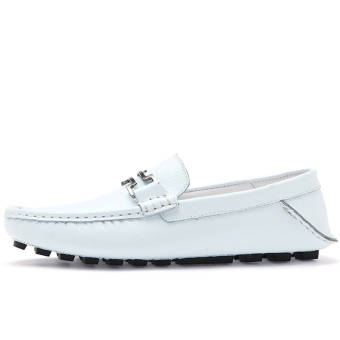Fashion New Soft Men Leather Loafers – White - picture 2