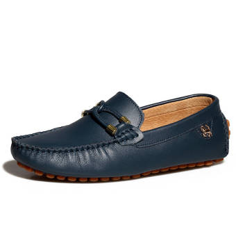 Fashion New Soft Men Leather Shoes (Dark Blue)