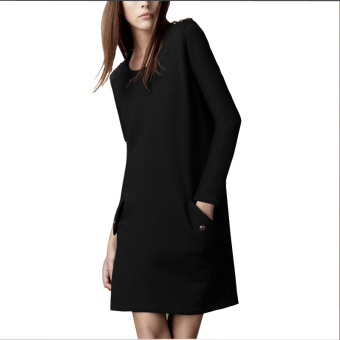 Fashion New style base skirt long-sleeved dress (Black)
