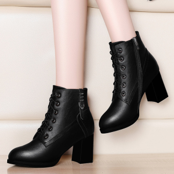 Fashion New Style High-heeled Women's boots thick with short boots (Black)