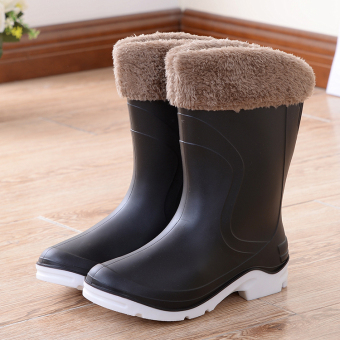 Fashion non-slip warm tube rubber boots rain boots (Black (with cotton intercropping))