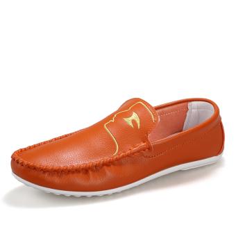 Fashion Pattern Men Loafers - Orange