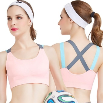 Fashion Racerback Fitness Women's Sports Bra Gym Suit for YogaRunning Sports Underwear - Pink