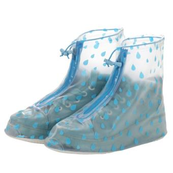 Fashion Rain Shoes Cover Rain Drops Design (Blue) XL 41-42