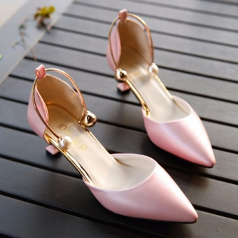 Fashion Sexy high-heeled shoes Pointed Thin Shallow Sandals Women Shoes Pink - intl