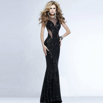 Fashion Sexy Women Dress Female Wedding Casual Dress Party EveningSequined Backless Long Dress Corset Black - intl - 4