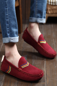 Fashion Simple Men Leather Flat Shoes Wine Red - picture 2