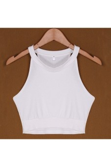 Fashion Sleeveless Sexy Women Crop Top Cropped Camisole Tops White-intl