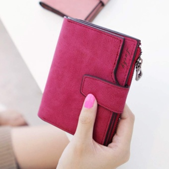 Fashion Small Female Purse short purse Lady Letter Snap Fastener Zipper Short Clutch Wallet Solid Vintage Matte Women Wallet Rose - intl
