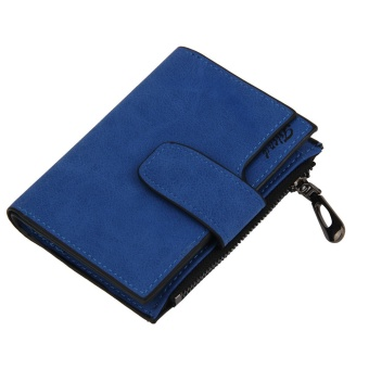 Fashion Small Female Purse short purse Lady Letter Snap FastenerZipper Short Clutch Wallet Solid Vintage Matte Women Wallet Blue -intl