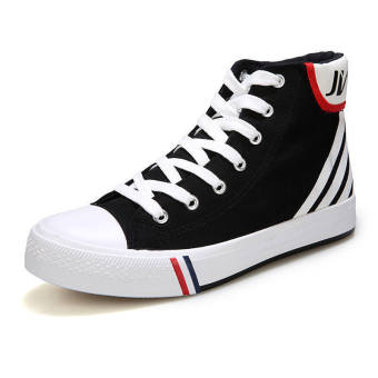 Fashion Sporty Lace-Ups High Cut Shoes-Black