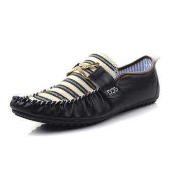 Fashion Stripe Flat Shoes-Black