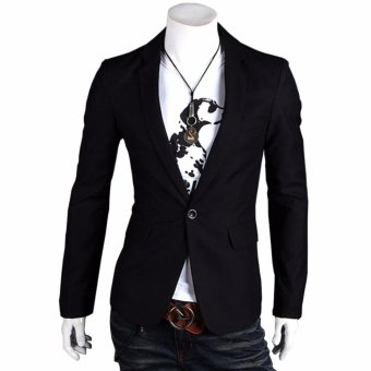 Fashion Stylish Men's Outwear One Button Casual Slim Fit Blazer Coat Jacket Suit [black] - intl