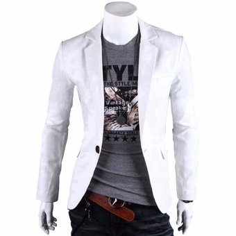 Fashion Stylish Men's Outwear One Button Casual Slim Fit Blazer Coat Jacket Suit [White] - Intl - intl