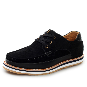 Fashion Suede Lace-Ups Flat Shoes-Black - picture 2