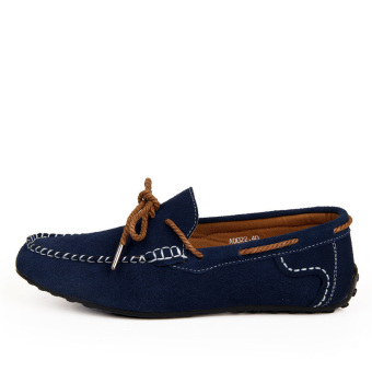 Fashion Suede Leather Men's Loafers - Blue - picture 2