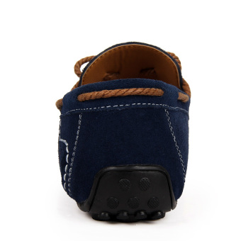 Fashion Suede Leather Men's Loafers - Blue - picture 3