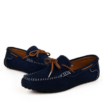 Fashion Suede Leather Men's Loafers - Blue - picture 4