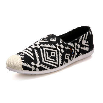 Fashion Summer Ethnic Style Canvas Loafers –Black