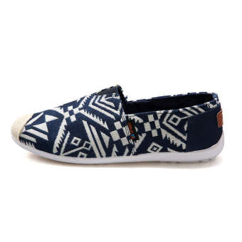 Fashion Summer Ethnic Style Canvas Loafers Blue - picture 2