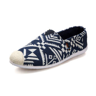 Fashion Summer Ethnic Style Canvas Loafers Blue