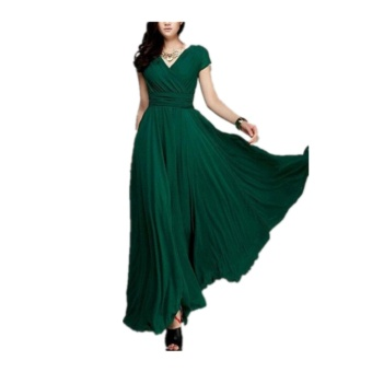 Fashion Summer Style V-Neck Short Sleeve Floral Dress For Women Bohemia Long Beach Maxi Dress(Deep Green) - intl