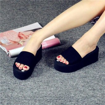 Fashion Thick Bottom All-match Platform Wedge Anti-skid Beach HomeBathroom Slippers Sandals Black(EU:36) - Intl