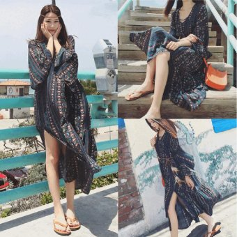 Fashion Women Bohemian Print Midi Dress - intl