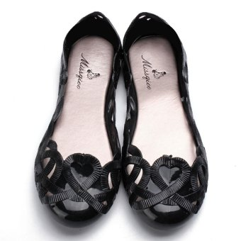 Fashion Women Casual Flats Shoes Crystal Jelly Hollow Slip-on Sandals Flip Flops BLACK - intl - 3