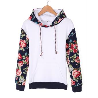 Fashion Women Casual Hooded Patchwork Floral Loose Leisure Sports Hoodie(White)